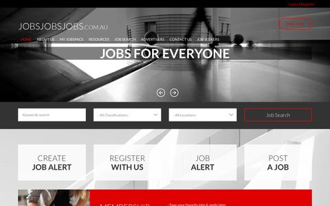 Screenshot of Home Page jobsjobsjobs.com.au - Jobs Jobs Jobs : Search for new jobs, employment and careers in Australia | jobsjobsjobs.com.au  Australia's biggest jobs network - captured Oct. 12, 2017