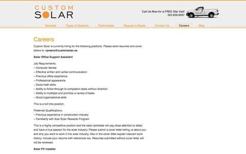 Screenshot of Jobs Page customsolar.us - Custom Solar | Careers | Boulder, Colorado - captured May 24, 2017