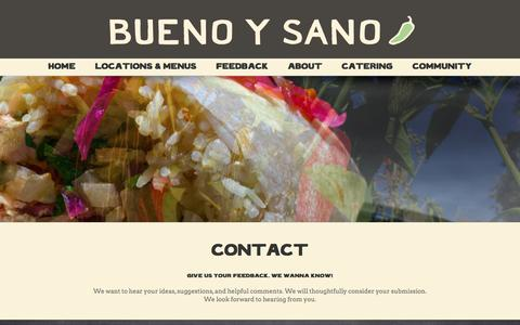 Screenshot of Contact Page buenoysano.com - CONTACT - Mexican Restaurant - captured July 30, 2016