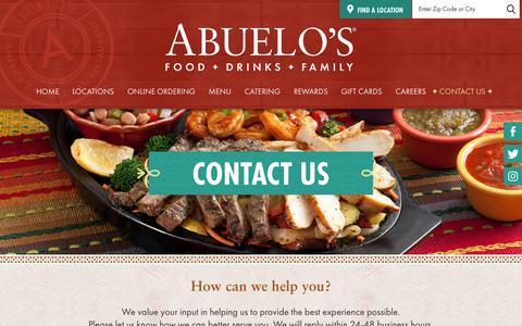 Screenshot of Contact Page abuelos.com - Abuelo's Mexican Restaurant Located In Texas, Indiana, Ohio, Oklahoma, Tennessee, Arizona, Florida, Kansas, Virginia, Arkansas, Kentucky, Missouri, and South Carolina - Contact Us - captured Sept. 22, 2018