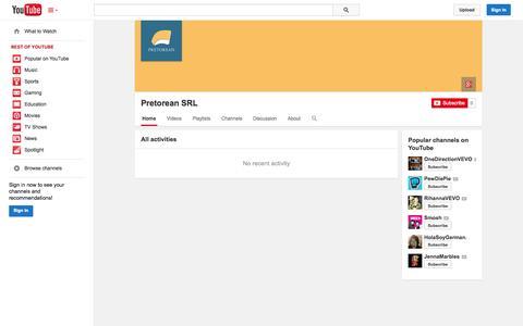 Screenshot of YouTube Page youtube.com - Pretorean SRL  - YouTube - captured Oct. 22, 2014