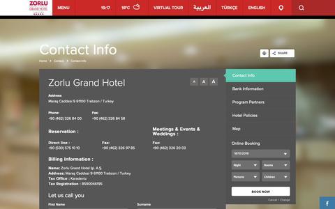 Screenshot of Contact Page zorlugrand.com - Zorlu Grand Hotel | Contact | Contact Info - captured Oct. 19, 2018