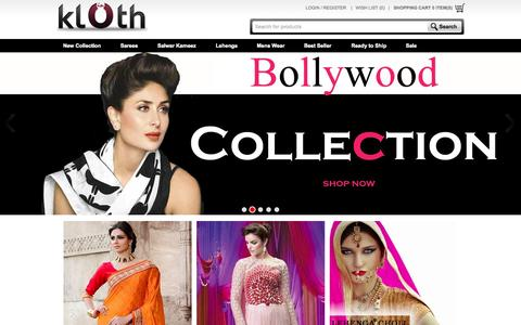 Screenshot of Home Page klothin.com - Online Shopping - Indian Clothing, Sarees, Salwar Kameez and Lehengas | Klothin - captured Sept. 2, 2015