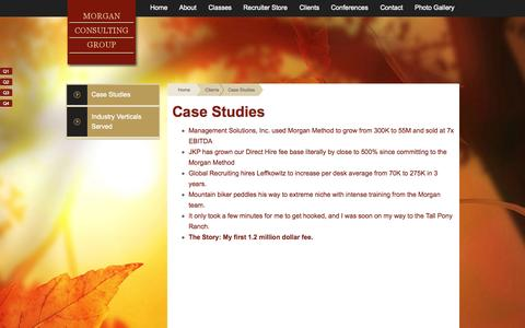 Screenshot of Case Studies Page morgancg.com - Case Studies - Morgan Consulting Group - captured Oct. 26, 2014