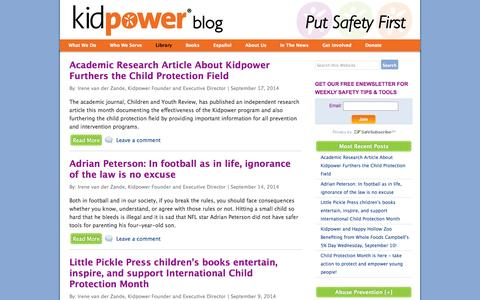 Screenshot of Blog kidpower.org - Kidpower Stranger Safety Blog | Kidpower Teenpower Fullpower International - captured Sept. 24, 2014
