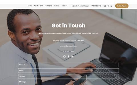 Screenshot of Contact Page bmmprint.co.uk - Contact | BMM Print Ltd - captured Nov. 13, 2018