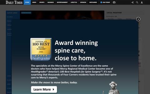 Screenshot of Home Page daily-times.com - Farmington - Home - captured Feb. 4, 2016