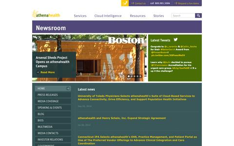 Screenshot of Press Page athenahealth.com - Newsroom - athenahealth - captured Sept. 13, 2014