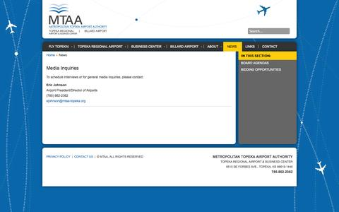 Screenshot of Press Page flytopeka.org - News | Metropolitan Topeka Airport Authority - captured Oct. 7, 2014