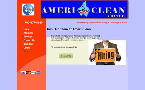 Screenshot of Jobs Page americleanchoice.com - Ameri Clean - captured Oct. 1, 2014