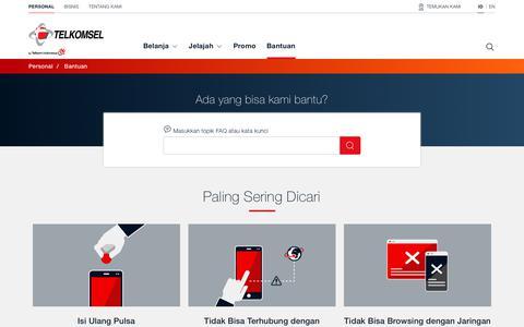 Screenshot of Support Page telkomsel.com - Bantuan | Telkomsel - captured Jan. 26, 2019