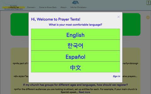 Screenshot of FAQ Page prayertents.com - How can we help? - Prayer Tents - captured July 8, 2018