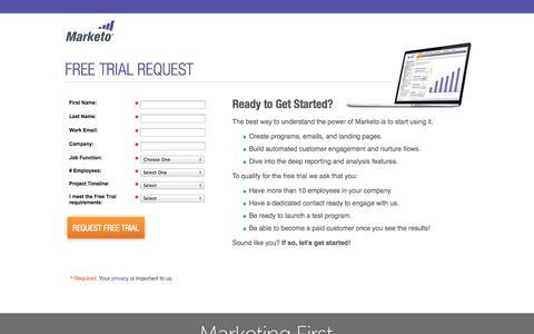 Screenshot of Trial Page marketo.com - Free Trial - Marketo Marketing Automation Software - captured Sept. 13, 2014