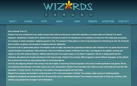 Screenshot of About Page wizards.rs - Wizards Time D.O.O. Nis   About - captured Oct. 7, 2014