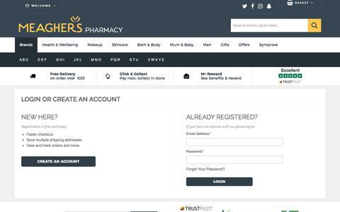 Screenshot of Login Page meagherspharmacy.ie - Customer Login - captured Oct. 18, 2017