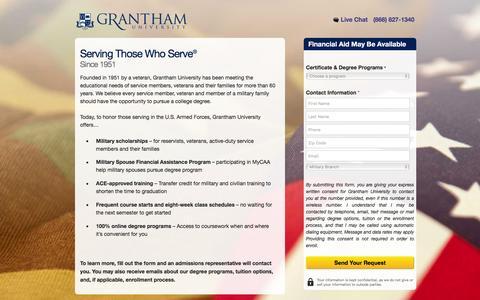 Screenshot of Landing Page grantham.edu - Grantham University | Grantham.edu - captured Dec. 30, 2015