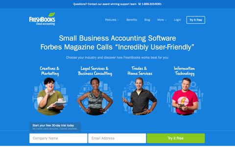 Screenshot of Home Page freshbooks.com - Online Invoicing, Accounting & Billing Software | FreshBooks - captured Nov. 10, 2015