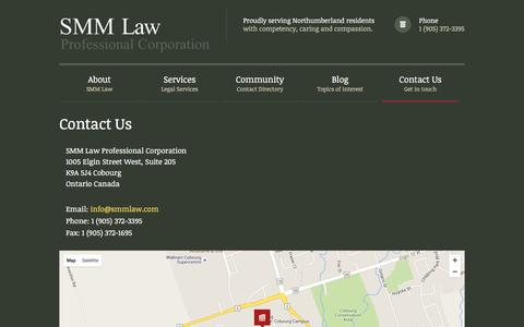 Screenshot of Contact Page smmlaw.com - SMM Law - Proudly serving Northumberland residents with competency, caring and compassion.Contact Us - SMM Law - Proudly serving Northumberland residents with competency, caring and compassion. - captured Feb. 15, 2016