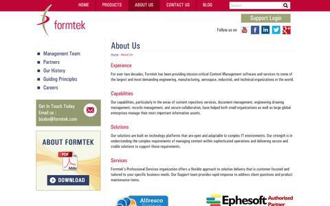Screenshot of About Page formtek.com - Content Management | Document Management Software and Services  | formtek - captured July 13, 2018