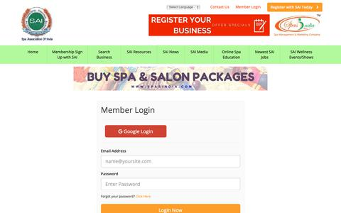 Screenshot of Login Page spaassociationofindia.in - Login Now - Leading Spa Association of India is a collection of Spa Salon Cosmetic Clinics & Wellness Business in India - captured Oct. 19, 2018