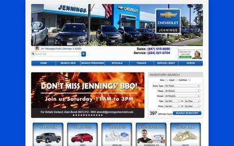 Screenshot of Home Page jenningschevrolet.com - Chicago Chevrolet | Jennings Chevrolet in Glenview, IL near Park Ridge - captured Sept. 30, 2014