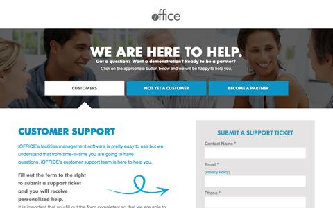 Screenshot of Contact Page Support Page iofficecorp.com - Contact Us & Customer Service | iOFFICE - captured June 23, 2017