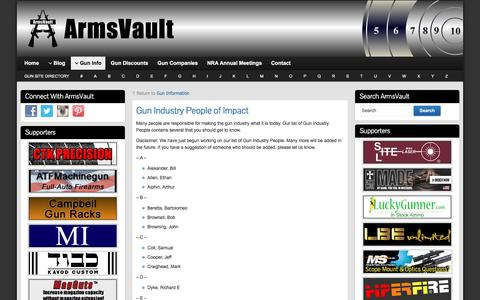 Screenshot of Team Page armsvault.com - Gun Industry People of Impact - ArmsVault - captured June 15, 2016