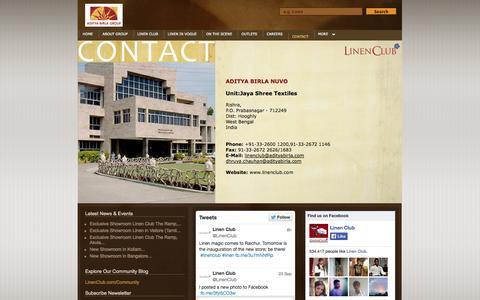 Screenshot of Contact Page linenclub.com - Linen Club: Contact - captured Sept. 25, 2014