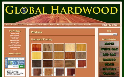 Screenshot of Products Page ghardwoodflooring.com - Our Products   Bamboo Hardwood Flooring   Engineered Hardwood Floors   Laminate Floors Los Angeles   Ghardwood.com   Global Hardwood & Supplies - captured Oct. 3, 2014
