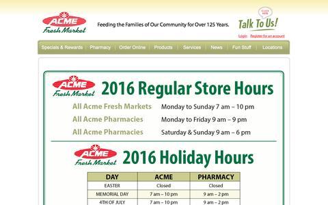 Screenshot of Hours Page acmestores.com - My Store Hours - Acme Fresh Market - captured Sept. 1, 2016
