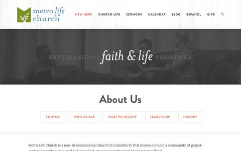 Screenshot of About Page metrolife.org - Metro Life Church: Casselberry, FL  > About Us - captured Oct. 18, 2018