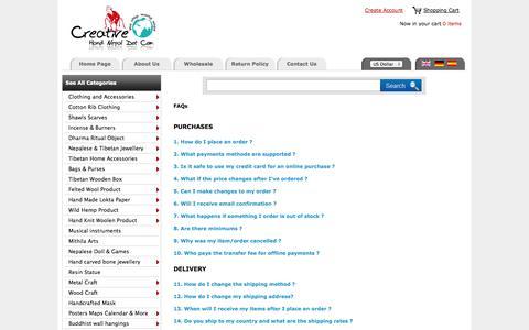 Screenshot of FAQ Page creativehandnepal.com - Creative Hand Nepal :: Nepal Trade Fair  an Online Wholesale Handicraft Marketplace ! - captured Sept. 19, 2014