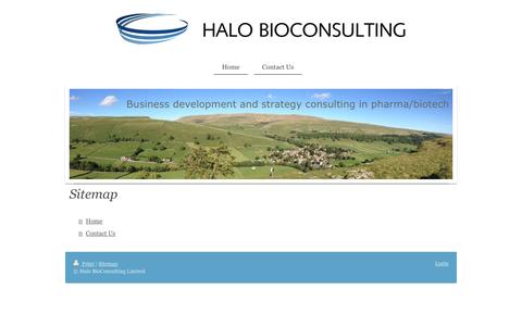 Screenshot of Site Map Page halobio.com - Halo BioConsulting Limited - Home - captured Oct. 19, 2016
