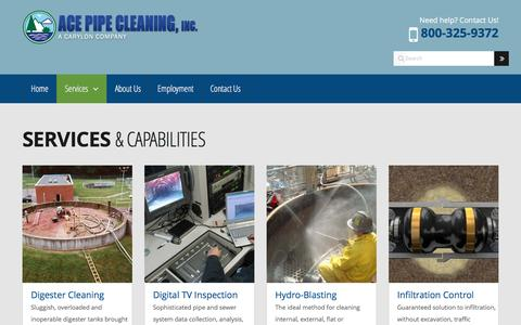 Screenshot of Services Page acepipe.com - Environmental Cleaning and Maintenance Services for Municipalities, Industries and Utilities | Services & Capabilities | Ace Pipe Cleaning, Inc., a Carylon Corporation Company - captured Nov. 20, 2016