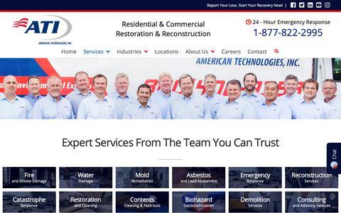 Screenshot of Services Page atirestoration.com - Services - ATI - American Technologies, Inc. - captured Oct. 3, 2018