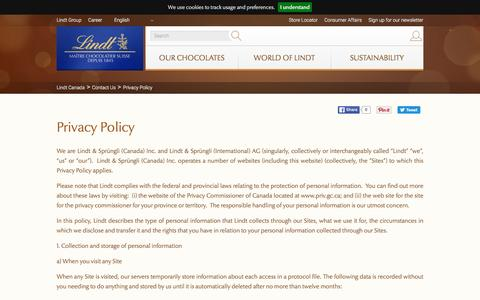Screenshot of Privacy Page lindt.ca - Privacy Policy | Contact Us | Lindt Canada - captured Sept. 19, 2016