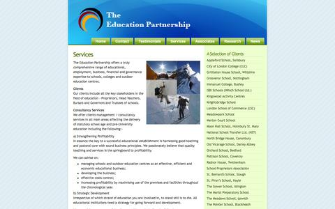 Screenshot of Services Page theeducationpartnership.org.uk - The Education Partnership » Services - captured Aug. 19, 2016