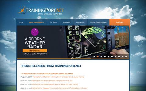 Screenshot of Press Page trainingport.net - TrainingPort.net -- Press Releases from TrainingPort.net - captured Oct. 7, 2014