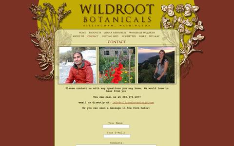 Screenshot of Contact Page wildrootbotanicals.com - Wildroot Botanicals, Bellingham, WA : Contact - captured Oct. 7, 2014