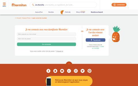 Screenshot of Login Page marmiton.org - Accéder au carnet de recettes Marmiton : rentrer son login et mot de passe - captured Sept. 21, 2018