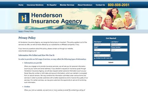 Screenshot of Privacy Page hendersonagency.net - Privacy Policy | Henderson Insurance Agency of Greenwood Village Colorado - captured Oct. 2, 2014