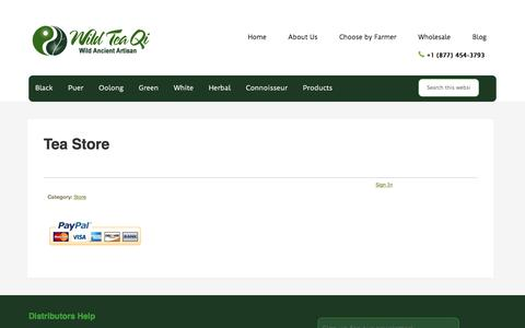 Screenshot of Products Page wildteaqi.com - Artisan, organic, ancient tea tree and wild crafted teas. - captured Feb. 23, 2016