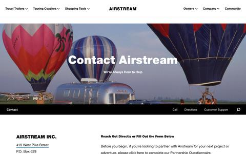 Screenshot of Contact Page airstream.com - Contact Airstream   Call or Email Headquarters in Jackson Center, Ohio - captured Feb. 8, 2020