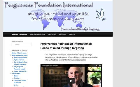 Screenshot of Home Page forgivenessfoundation.org - Forgiveness Foundation International, a 501c3 non profit - captured Sept. 30, 2014