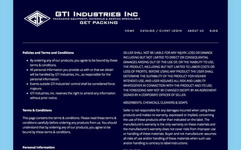 Screenshot of Terms Page gtiindustries.com - Terms & Conditions — GTI Industries Inc - captured Oct. 22, 2014