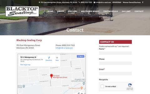 Screenshot of Contact Page mik-a-seal.com - Paving Contractors Near Me | Blacktop Sealing Corp. | Allentown PA - captured Oct. 4, 2018
