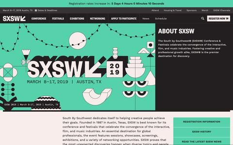 Screenshot of About Page sxsw.com - About SXSW | SXSW Conference & Festivals - captured Oct. 22, 2018