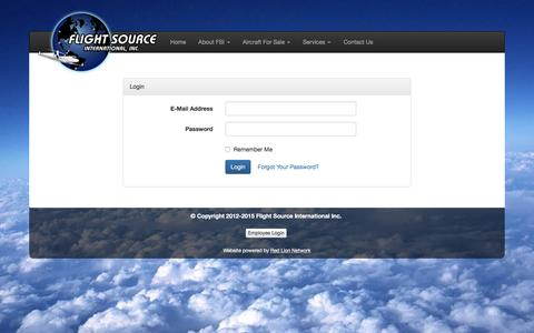 Screenshot of Login Page flightsource.com - Flight Source International - captured Feb. 10, 2016