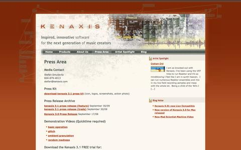 Screenshot of Press Page kenaxis.com - Press Area | Kenaxis - captured Oct. 6, 2014