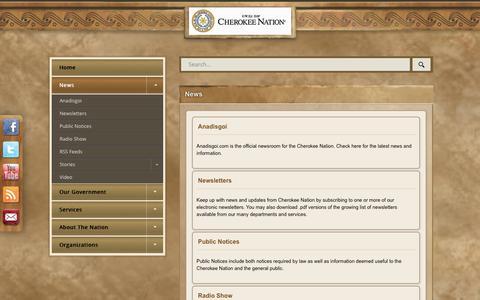 Screenshot of Press Page cherokee.org - News - captured July 29, 2017